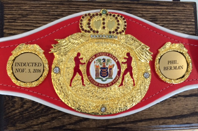 Boxing Belt on a Plaque awarded to Phil Berman Boxer upon his induction into the NJ State Boxing Hall of Fame in Garfield, NJ